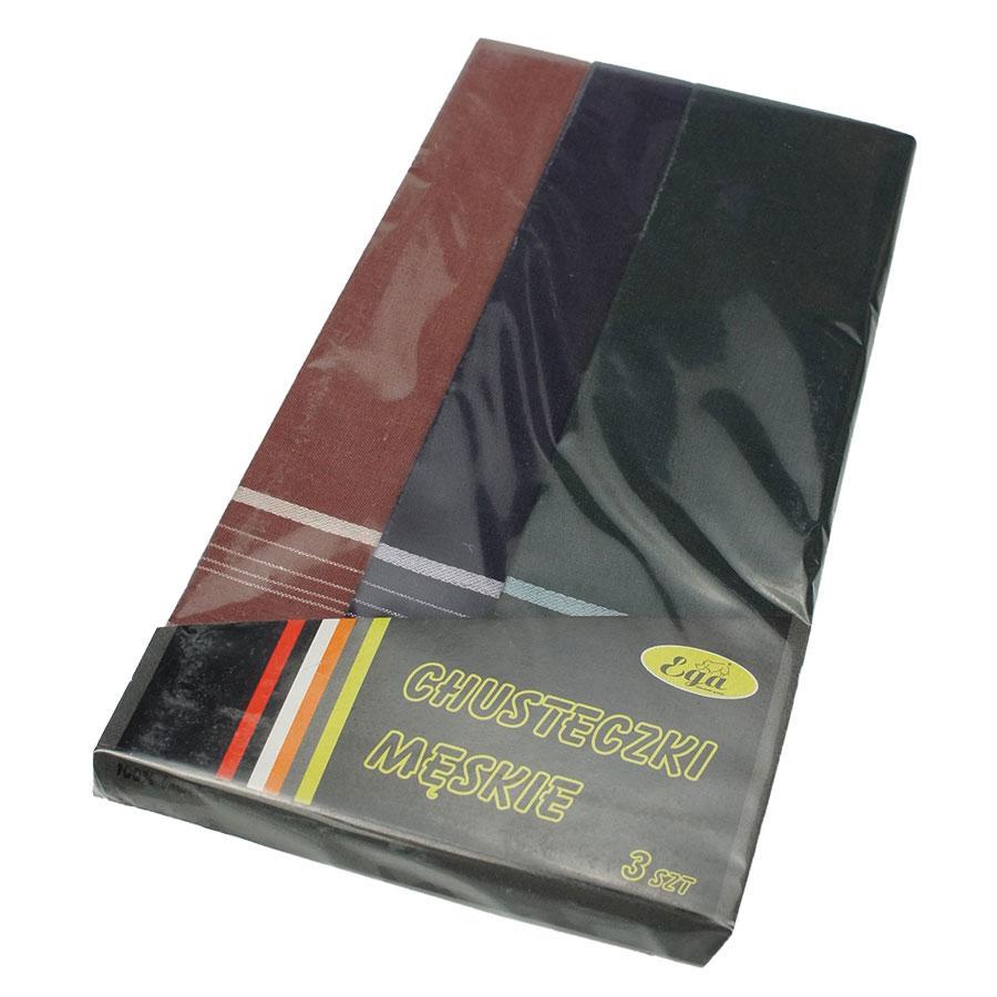 Набір темних однотонних носових хусток для чоловіків в упаковці Ega 3 шт СН-017/3