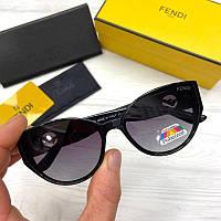 Женские солнцезащитные очки бабочки Фенди реплика Черные с поляризацией, фото 1
