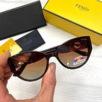 Женские солнцезащитные очки бабочки Фенди реплика Коричневые с поляризацией, фото 1