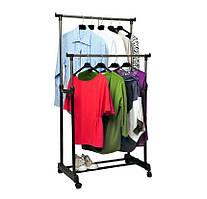 Вешалка стойка для одеждытелескопическаяDouble Pole Miniдвойная,с полкой для обуви