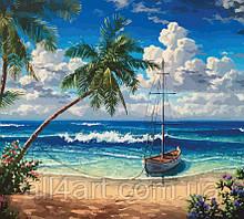 """Набор-стандарт, картина по номерам, """"Лодка на побережье"""", 35х45см, ROSA START"""