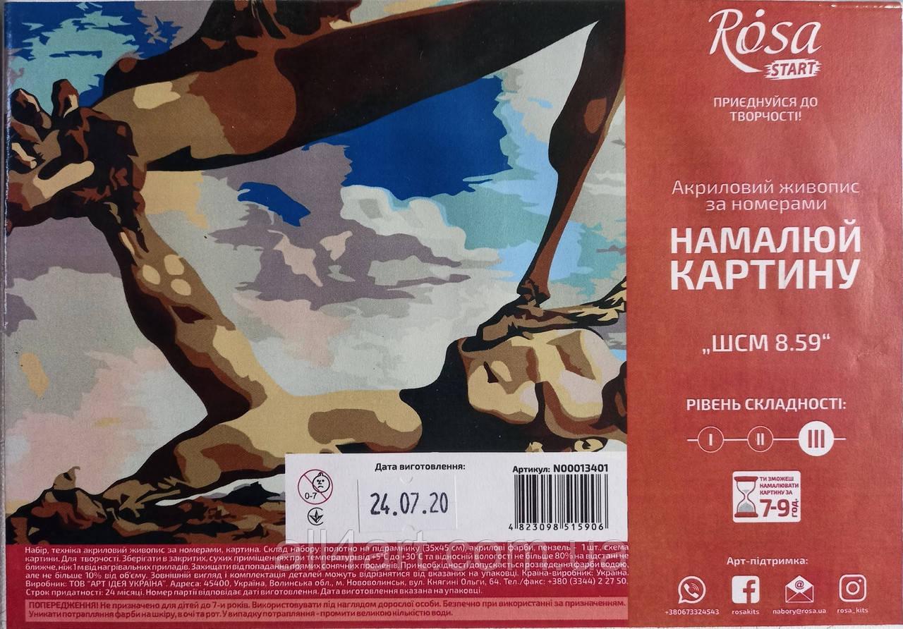 """Набор-стандарт, картина по номерам, """"Шедевры мирового искусства 8.59, 35х45см, ROSA START"""