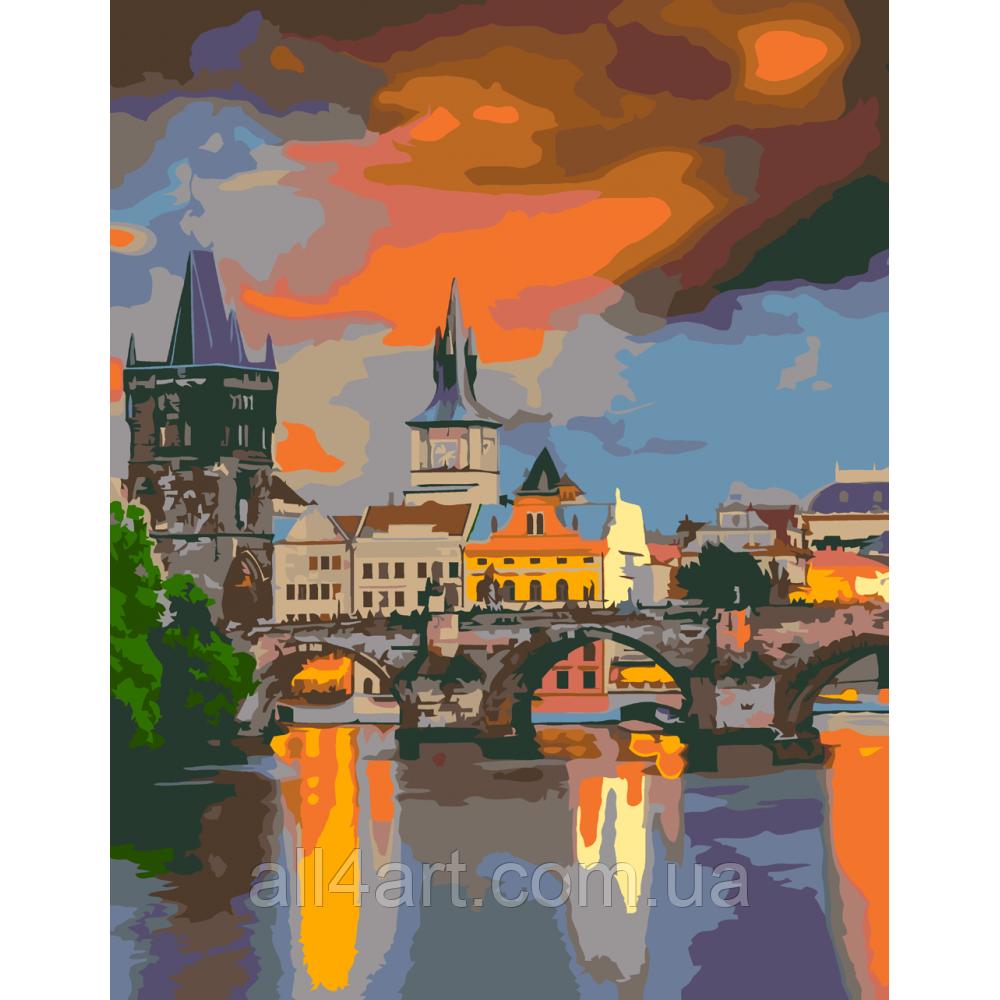 "Набор-стандарт, картина по номерам, ""Вечерний Карлов мост, 35х45см, ROSA START"