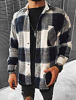 Чоловіча байкова сорочка в клітинку, фото 1