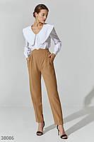 Бежевые брюки с акцентным поясом XS,S,M,L