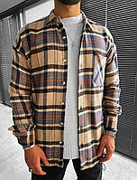 Мужская байковая рубашка бежевая в клетку