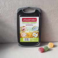 Пластиковая доска с жиростоком Чёрный мрамор 25*14.5*0.8 см