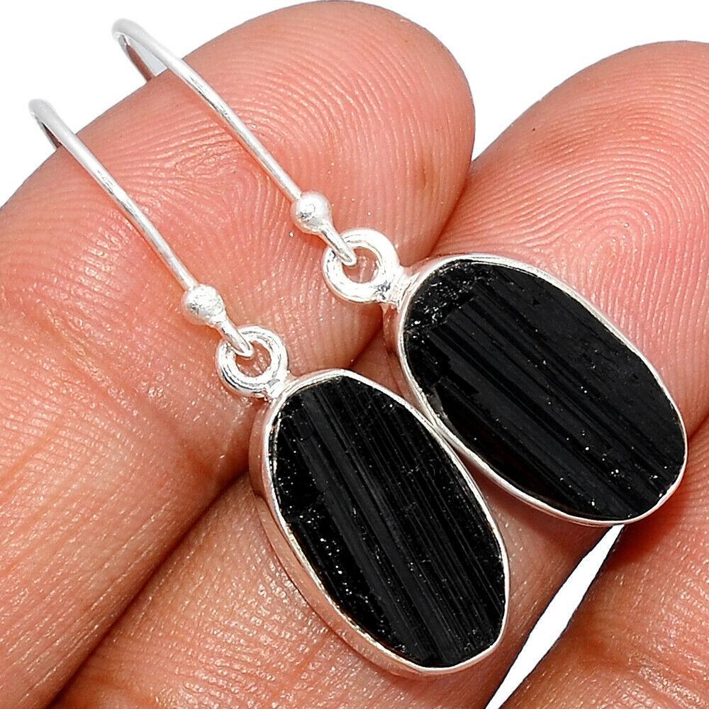 Серебряные серьги с шерлом черным турмалином, 1540СШ