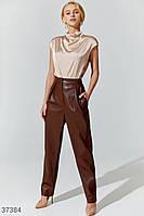 Кожаные брюки шоколадного оттенка XS,S,M,L