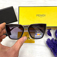 Женские солнцезащитные очки Фенди реплика Черные в хаки оправе с поляризацией