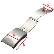 Застёжка для браслета часов с кнопочным фиксатором 18 мм., фото 2