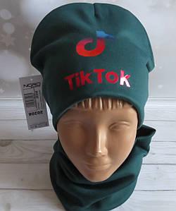 Детский трикотажный демисезонный комплект шапка + хомут (баф) на флисе, TikTok бутылочный