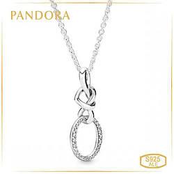Пандора Колье Сверкающие сплетенные сердца Pandora 398078CZ-60