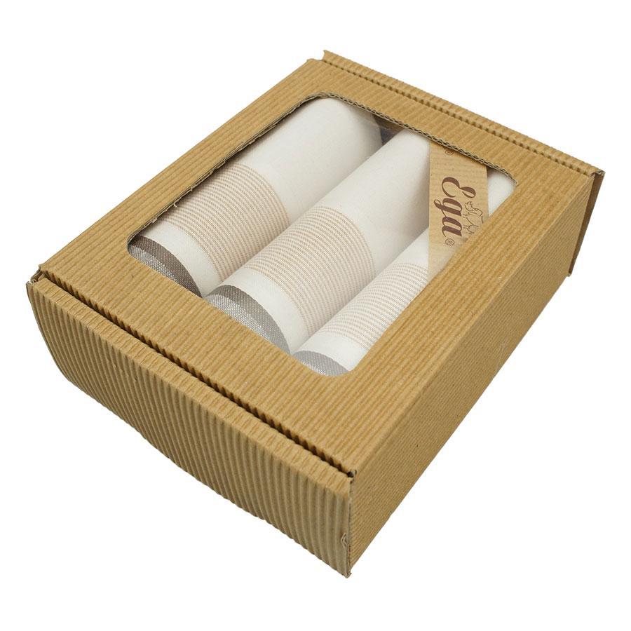 Набір світлих носових хусток для чоловіків в оригінальній упаковці Ega 3 шт CH-796/3 З