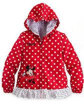 Детская красная легкая куртка Минни Маус в белый горох