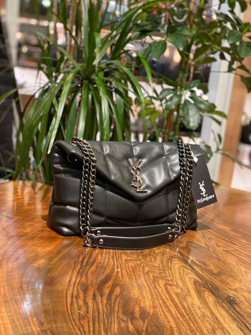 Женская сумка Yves Saint Laurent чёрная/на цепочке/стильная сумочка/модная сумка (люкс копия)