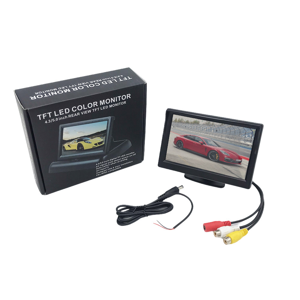 """Монитор для камеры заднего вида DS-5 Видеорегистратор Цветной автомобильный экран 5"""" с 2 видеовыходами"""