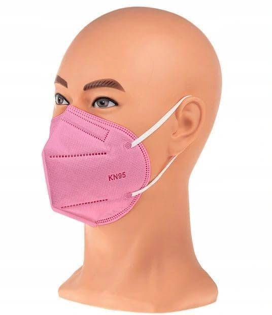 Защитная маска респиратор FFP3 KN95 с клапаном розовый