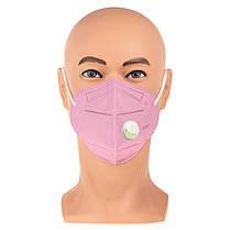 Защитная маска респиратор FFP3 KN95 с клапаном розовый, фото 2
