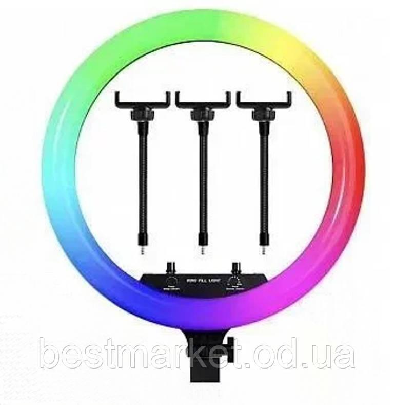 Кільцева Світлодіодний RGB Led Лампа з 3 Тримачами для Телефону LZ18-450CW Remote BrownBox 45см