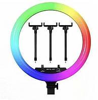 Кільцева Світлодіодний RGB Led Лампа з 3 Тримачами для Телефону LZ18-450CW Remote BrownBox 45см, фото 1