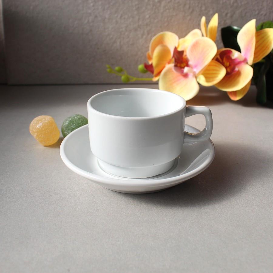 Чашка кофейная белая с блюдцем HLS 90 мл (HR1302)