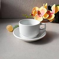 Чашка для кави біла з блюдцем  HLS 90 мл (HR1302)