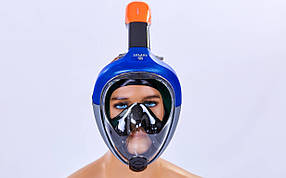 Маска для снорклинга с дыханием через нос Zelart M501L Blue  КОД: SP00093