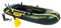 Двухместная надувная лодка 68347 NP (2) Seahawk 2 Set с веслами и насосом (236*114*41 см)