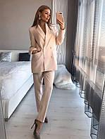 Двобортний піджак та брюки, костюмна полівіскоза, розміри:XS, S, M, кольорів багато!