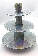 Подставка для кексов 3-х ярусная голограмма