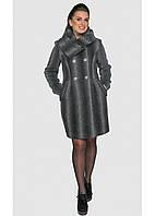 Очень женственная модель из дорогой кашемировой ткани с ассиметричным воротником батал, 46-54 размер, фото 1