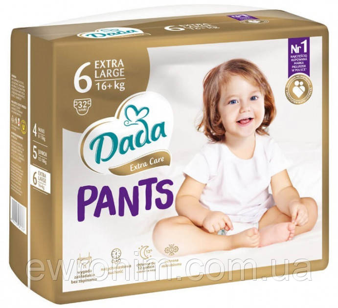 Подгузники-трусики Dada 6 pants (16+ кг), 32 шт