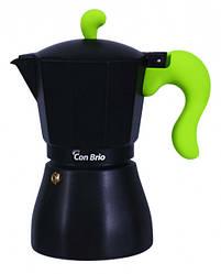 Гейзерна кавоварка Con Brio CB-6606 на 6 чашок | турка Con Brio зелена