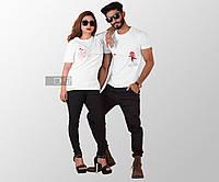 Парные футболки для пары парень девушка с принтом паук и паутина