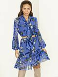 Блакитне плаття з шифону в квітковий принт з воланом по низу, фото 2