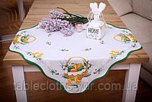 Салфетка Великодня 86-86 «Пасхальний Кошик» Зелений візерунок Біла