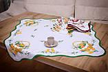 Салфетка Великодня 86-86 «Пасхальний Кошик» Зелений візерунок Біла, фото 2
