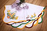 Салфетка Великодня 86-86 «Пасхальний Кошик» Зелений візерунок Біла, фото 3