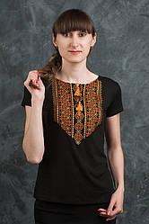 Модная футболка с вышитым орнаментом , размер с,м