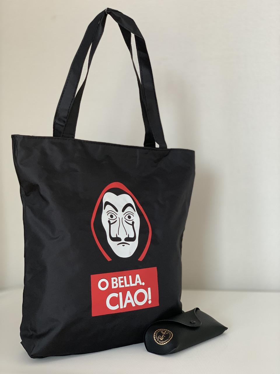 Жіноча тканинна сумка шоппер чорна з принтом Сальвадора Дали