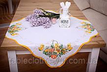 Салфетка Великодня 86-86 «Пасхальний Кошик» Жовтий візерунок Біла