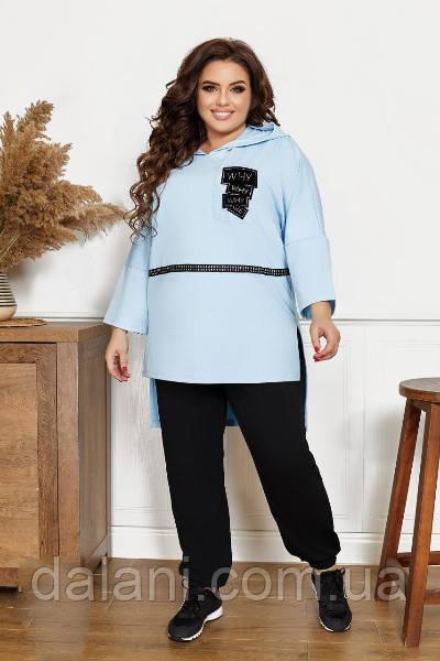 Жіночий чорно-блакитний костюм з туніки з капюшоном і джоггеров