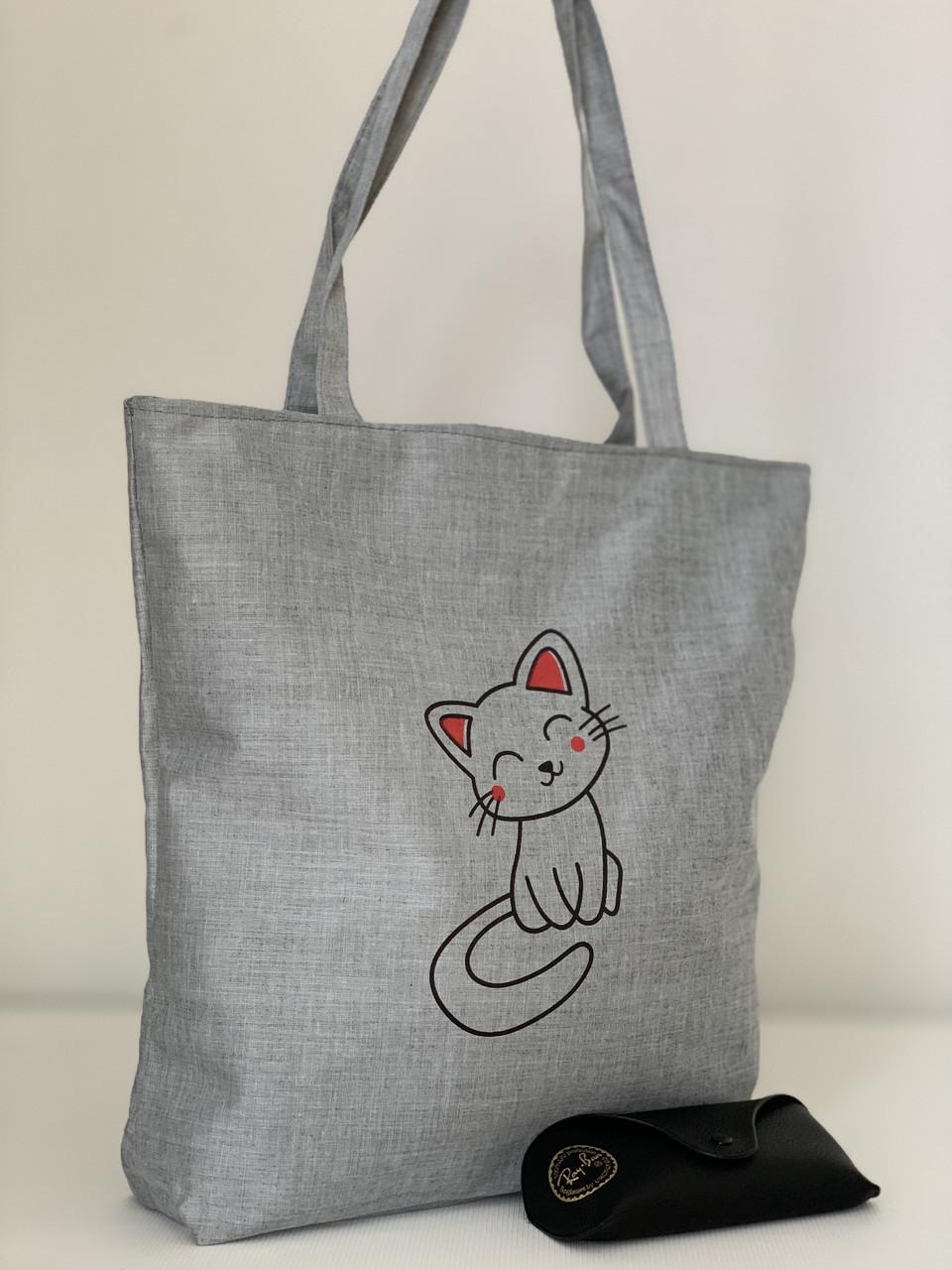 Тканинна сіра сумка шоппер з принтом котика