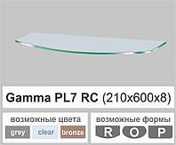 Полочка из стекла настенная навесная радиусная Commus PL7 RC (210х600х8мм), фото 1