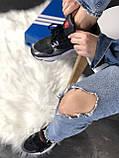 Женские кроссовки Adidas Falcon (black/grey/white) Реплика ААА, фото 5