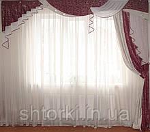 Жорсткий ламбрекен стайл бордо з сріблом Паморозь, 3м