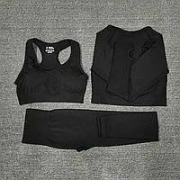 Женский костюм для фитнеса черный тройка размер S