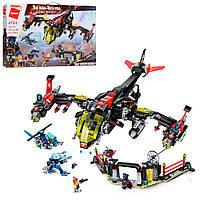 Детский конструктор военный самолет, вертолет Qman 2721Q, типа лего, аналог LEGO, 1013 деталей, от 6 лет