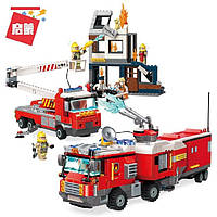 Конструктор Пожарная машина Qman 2810Q, типа лего, пожарная часть, станция, аналог LEGO, 996 деталей, от 6 лет